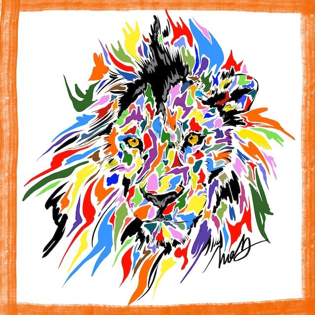 絵画 絵 ピクチャー 縁起画 モダン シェアハウス アートパネル アート art 14cm×14cm 一人暮らし 送料無料 インテリア 雑貨 壁掛け 置物 おしゃれ ライオン らいおん lion 百獣の王 動物 アニマル 現代アート ロココロ 画家 : nob 作品 : lion