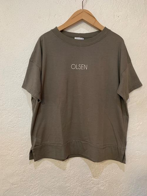BLUE LAKE MARKET/バックピンチTシャツ OLSEN  カーキ