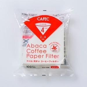アバカ 円すい コーヒーフィルター cup4〈2~4杯用〉(100枚入)ホワイト AC4-100W