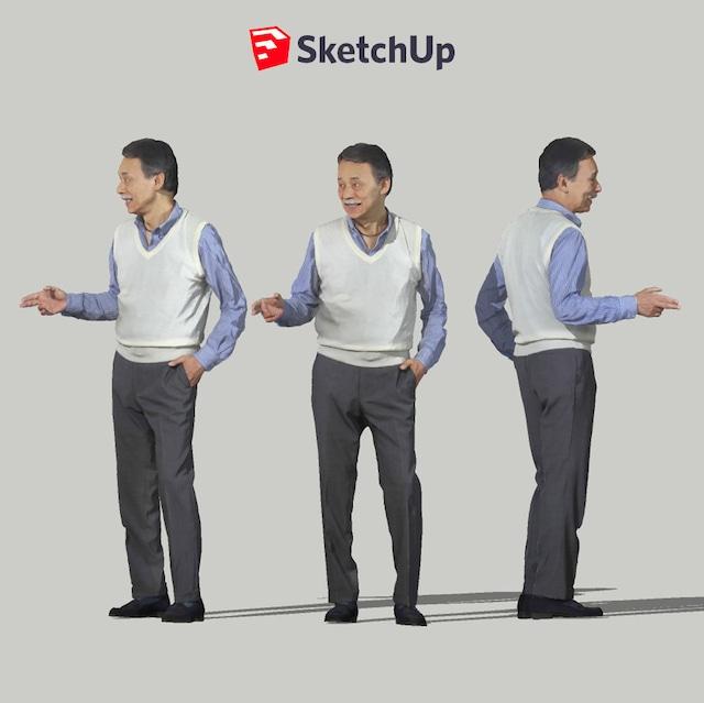 SketchUp素材 3D人物モデル ( Posed ) 049_Ken - メイン画像