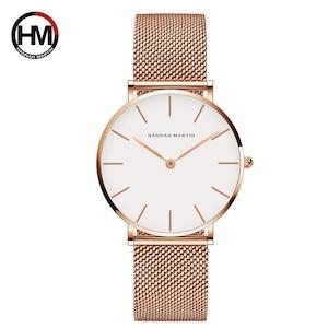 HMステンレススチールメッシュ腕時計トップブランドラグジュアリージャパンクォーツムーブメントローズゴールドデザイナーエレガントなスタイルの時計女性用CB36WFF