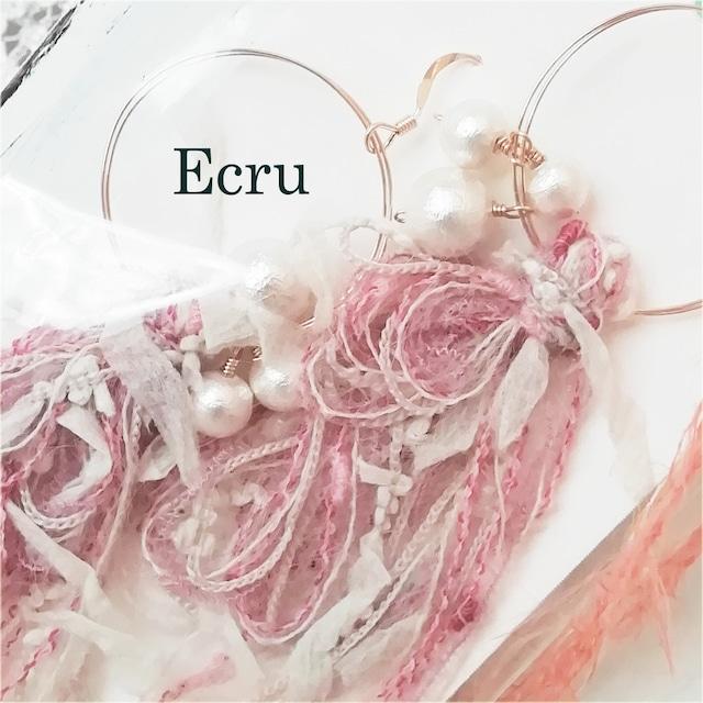 Handmade Accessories Ecru:コットンパールとリボンのピアス ピンク
