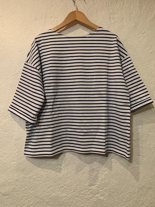 days/ボートネック6分袖ボーダーTシャツ  オフxブルー