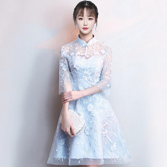 チャイナドレス ワンピース ドレス 改良型チャイナドレス チャイナ風服 スタンドネック 五分袖 スピーカースリーブ 膝丈 エレガント 着痩せ 上品 大きいサイズ SS S M L LL 3L レース 刺繍