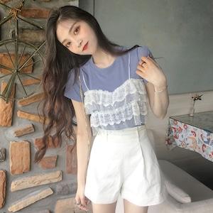 フェイクレースキャミソール半袖Tシャツ S2050