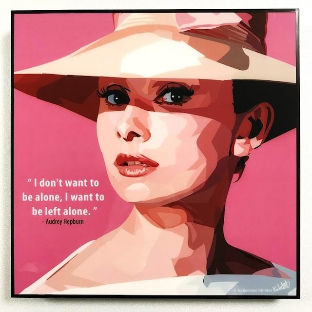 Audrey Hepburn (1) / オードリー ヘップバーン「ポップアートパネル Keetatat Sitthiket」ポップアートフレーム ボード グラフィックアート ウォール 絵画 壁立て 壁掛けインテリア 額 ポスター プレゼント ギフト インスタ映え 映画 母の日 キータタットシティケット