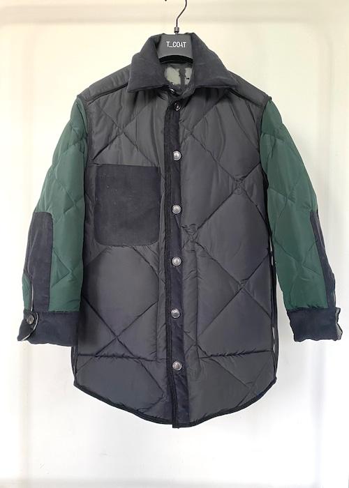 T_COAT レディースリバーシブルコート  ブラック/グリーン54Y001