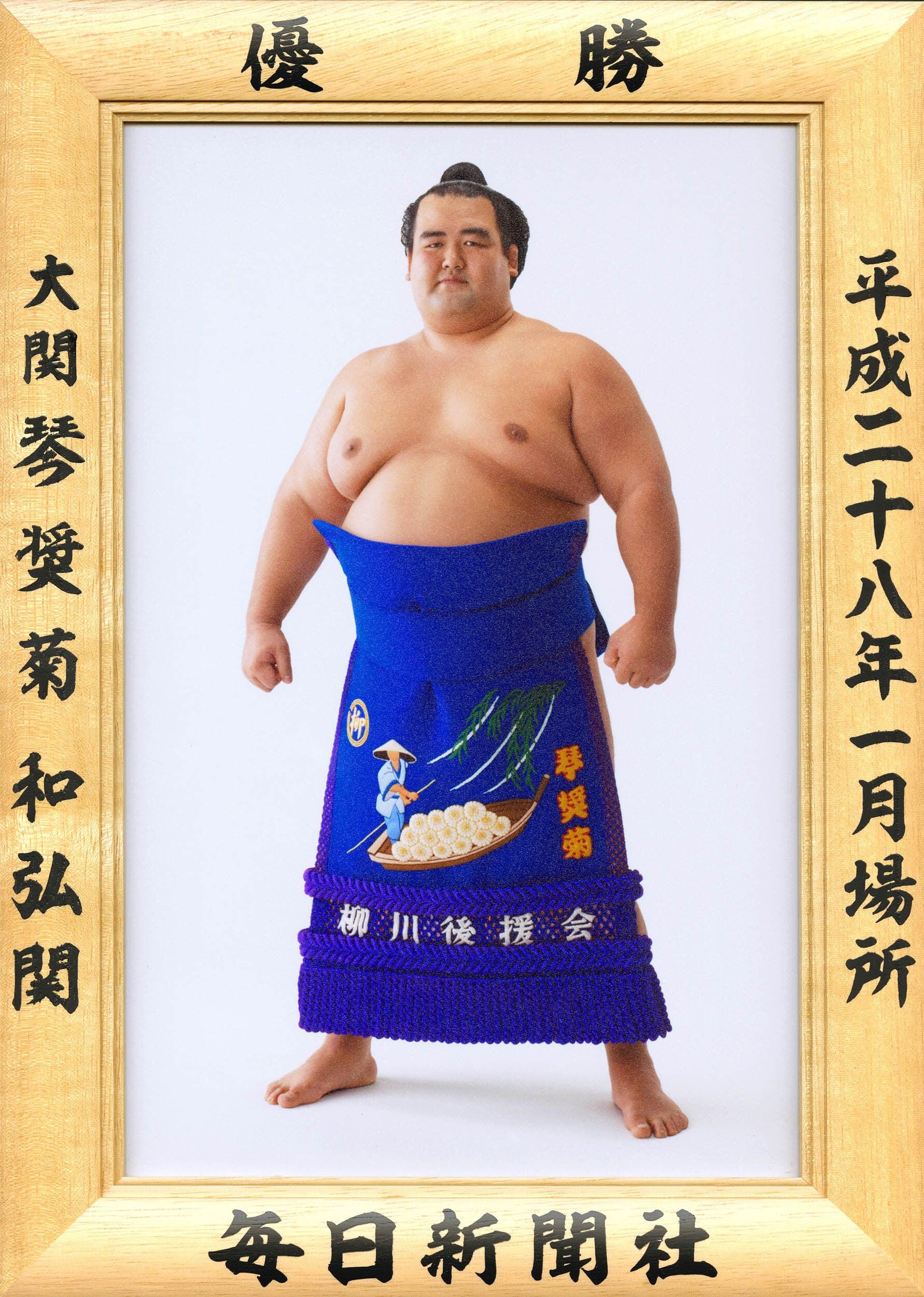 大相撲優勝額 平成28年1月場所・琴奨菊関