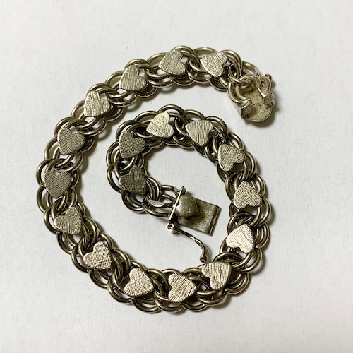 Vintage Sterling Silver Heart Link Bracelet ②