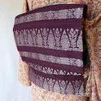 正絹 深い紫に銀糸のなごや