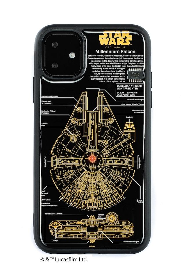 FLASH M-FALCON 基板アート iPhone 11 ケース  黒【東京回路線図A5クリアファイルをプレゼント】