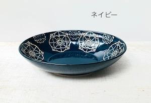 【波佐見焼】【藍染窯】【ステッチ】【オーバルボウル】 波佐見焼 パスタ皿 カレー皿  カラフル かわいい