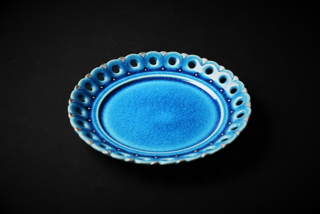 青釉銀彩透かし彫り皿 美濃焼