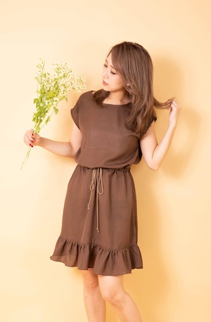 linen-like french sleeve dress BRN