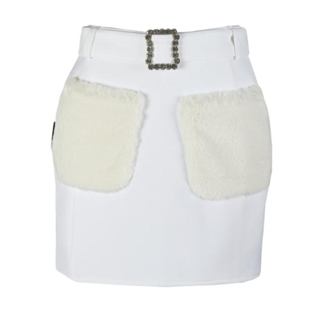 Fur Pocket Skirt(White)
