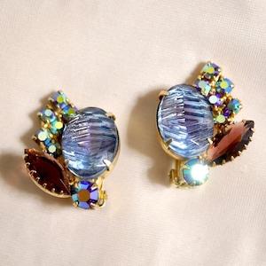 Two-tone glass clip-on earrings
