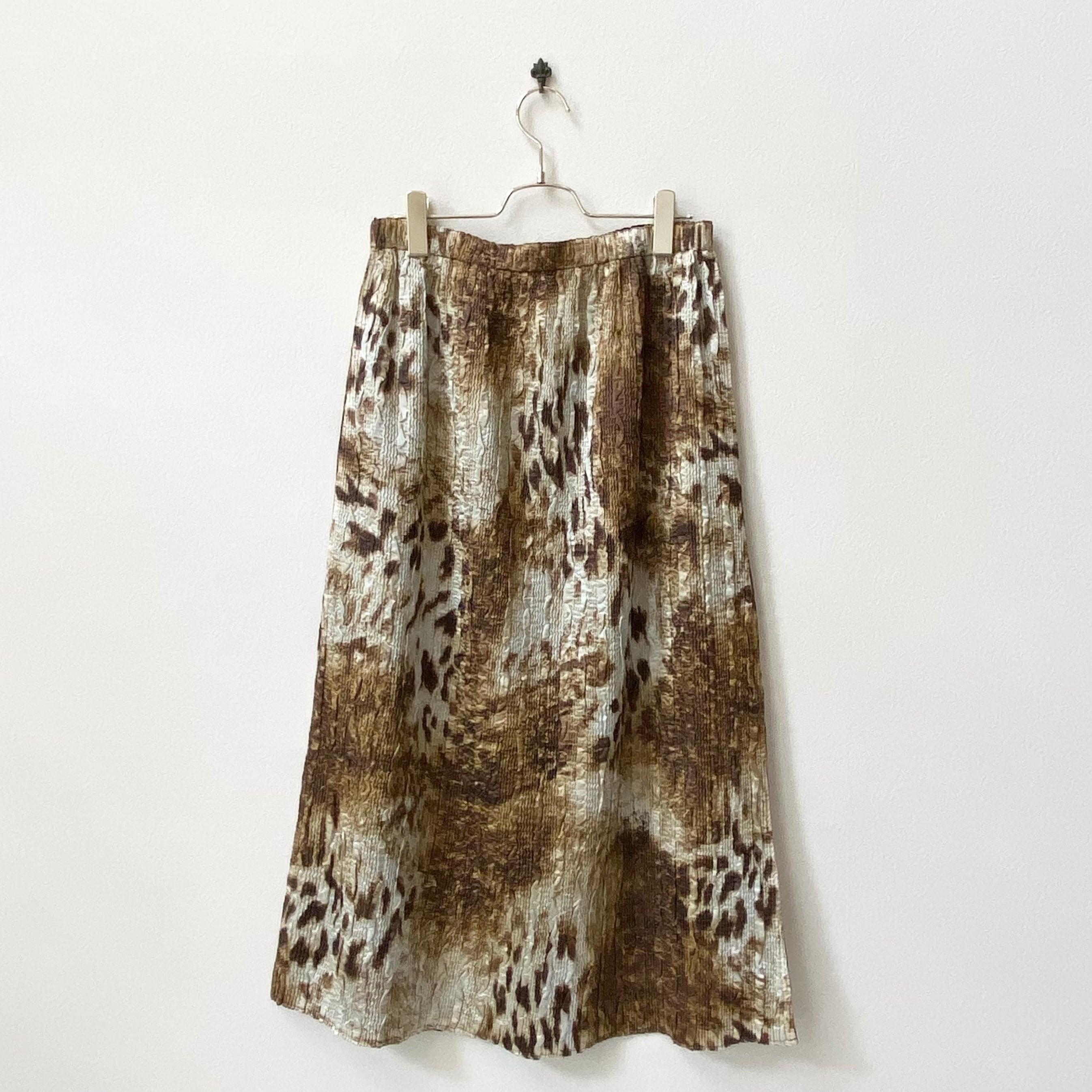 レディース レオパード柄×ブラウン リバーシブルスカート アメリカ 古着 日本LL
