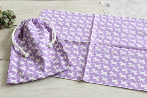 給食セット*巾着・ナフキンセット やぎ パープル/A*K 型番:A28紫
