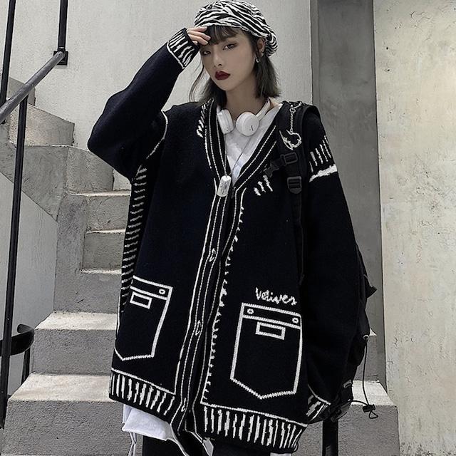 【Modern Peopleシリーズ】★カーディガン★ トップス セーター アウター 個性的 ブラック 黒い 原宿風