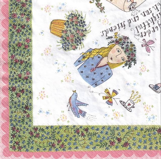 【Aimez le style】バラ売り1枚 ランチサイズ ペーパーナプキン ガーデンパーティー ホワイト