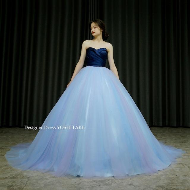 【オーダー制作】ウエディングドレス(無料パニエ) ネイビーサテンにアクアブルーのチュールのプリンセスラインカラードレス(パニエ付)※制作期間3週間から6週間