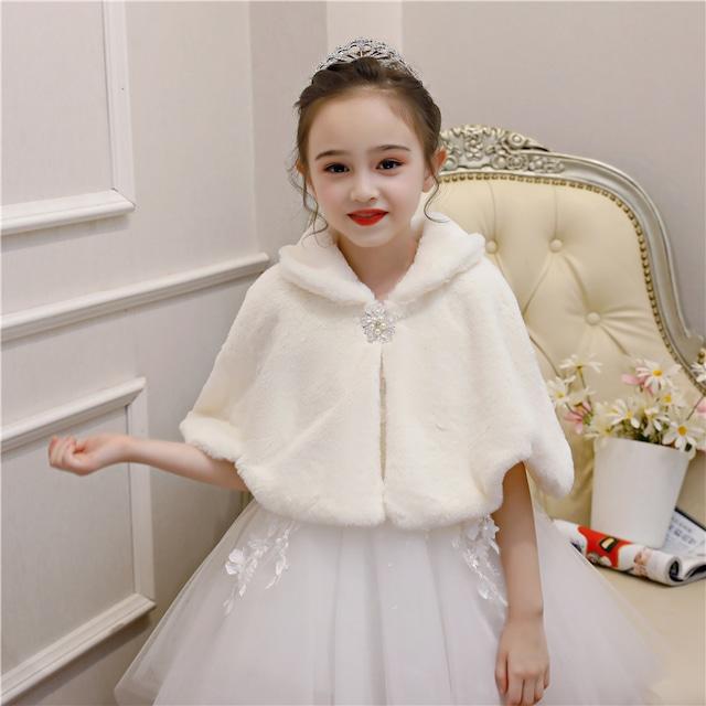 フェイクファー フォックス ファー ボレロ 子供 ドレス ワンピースに合わせて キッズ カーディガン アウター ファー 子供服 女の子 白 ホワイト 発表会 結婚式 肌触りいい リボン付き
