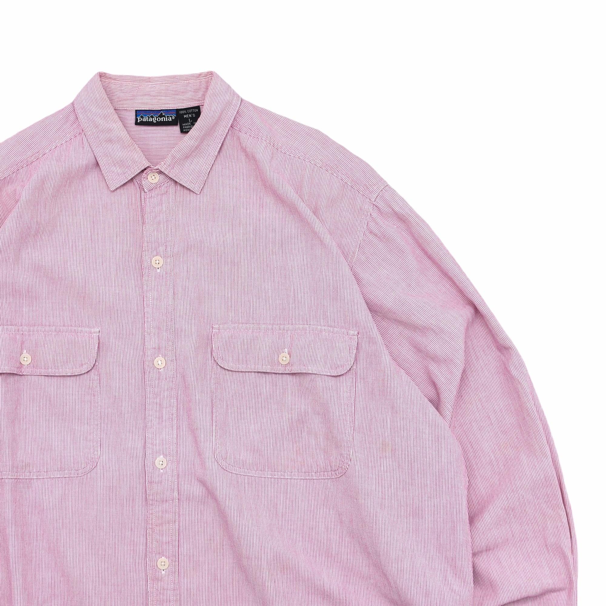 80〜90's patagonia stripe work shirt Made in Hong Kong