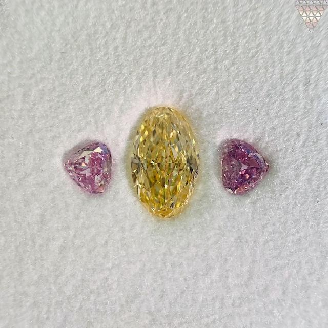 合計  0.91 ct 天然 カラー ダイヤモンド 3 ピース GIA  1 点 付 マルチスタイル / カラー FANCY DIAMOND 【DEF GIA MULTI】
