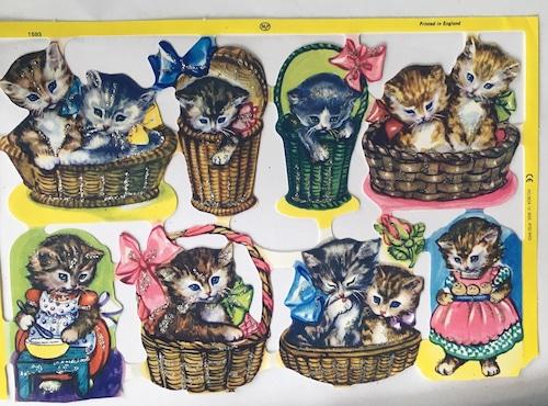 バスケットの子猫 クロモス イギリス  コラージュ MLP1593