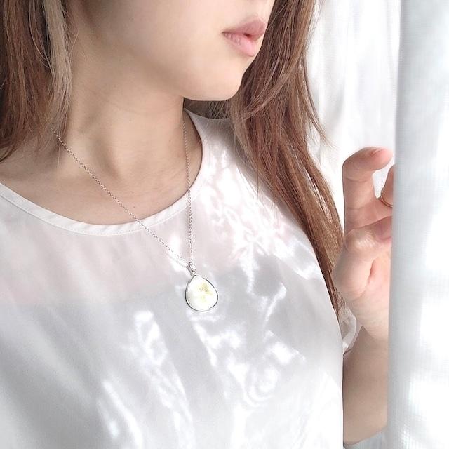 ネックレス なつめ型 純銀七宝 オフホワイト