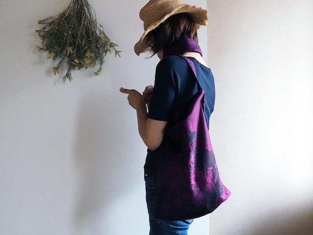 【選べる2サイズ】大きすぎないおしゃれなエコバッグ 紺×ピンクワイン着物コートからのリメイク