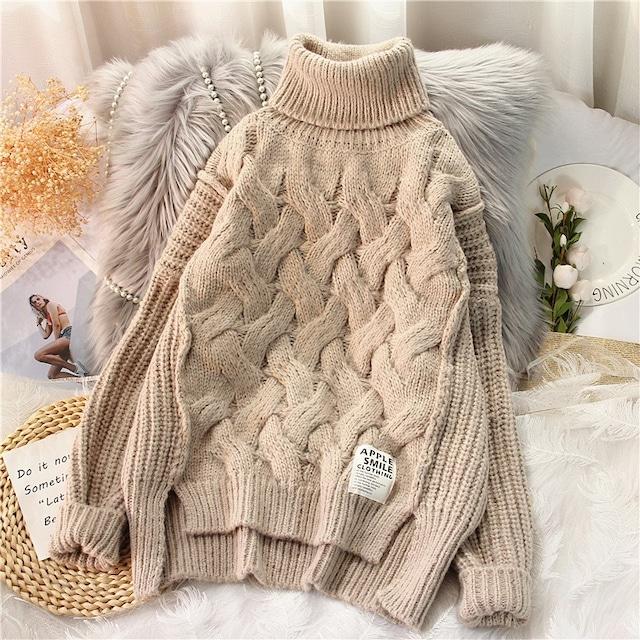 ハイネックルージープルオーバーセーター 2色 【210483】