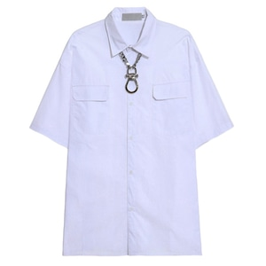 【SELECT】カラビナチェーンネックレスオーバーサイズ半袖シャツ