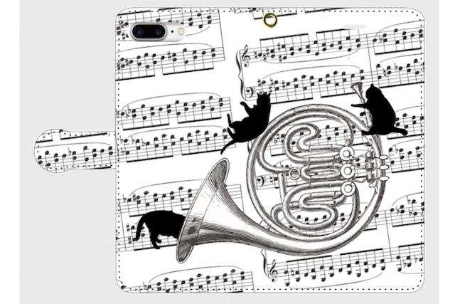 (iPhone用)ホルンと黒猫の手帳型スマホケース