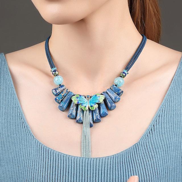 レトロ 民族風 パワーストーン ネックレス オリジナル 鎖骨チェーン ハンドメイド ネックレス 中華風 ペンダント アクセサリー