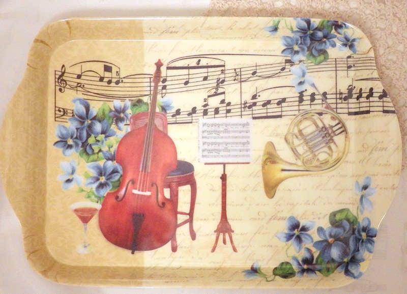 【在庫限り】メラミントレイ 楽器とブルーフラワー