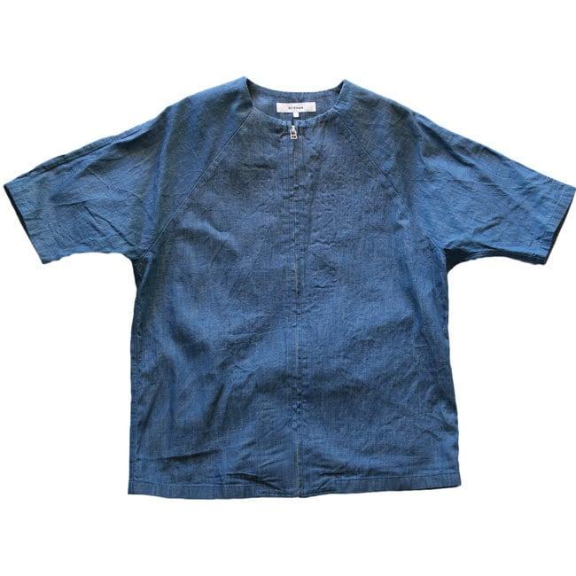 RICEMAN (ライスマン) ZIP UP HALF SLEEVE SHIRT  ジップアップ半袖シャツ  -LIGHT INDIGO-