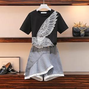 シンプルカジュアルデニムショートスカート+半袖Tシャツセットアップ<ins-1618>