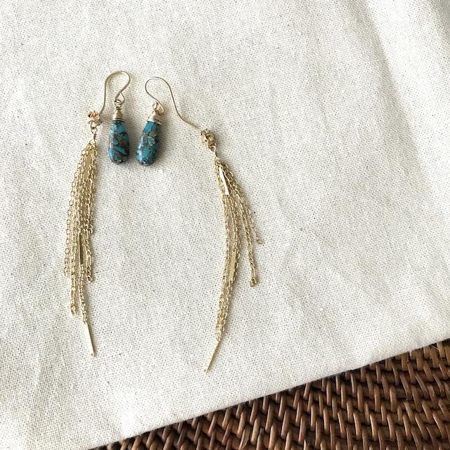 Turquoise*2Way Earrings/K14 gf