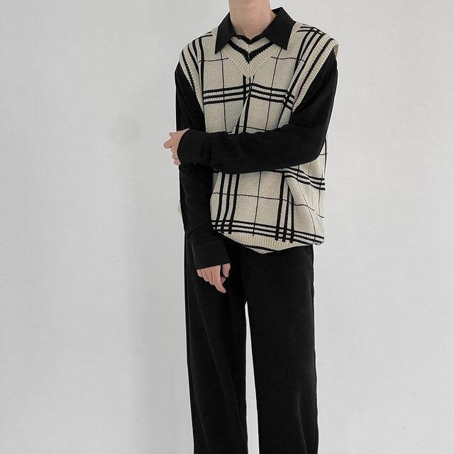 Wind knit autumn check vest   b-467