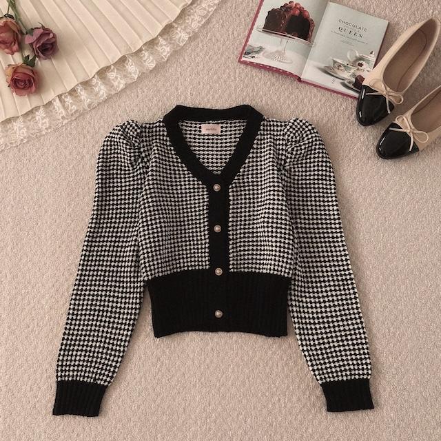 【10/28締】geometric pattern knit cardigan