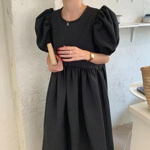 【ワンピース】パフスリーブ ロングドレス(black)