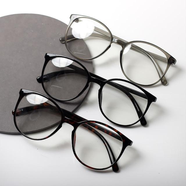 【曇らない特殊加工】UV&ブルーライト軽減ビッグフレームだてメガネ 3色展開