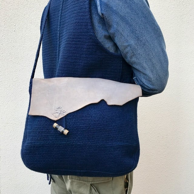 """●▲■ × """"BORO"""" 藍染刺し子 Vintage Bag (リメイク)"""