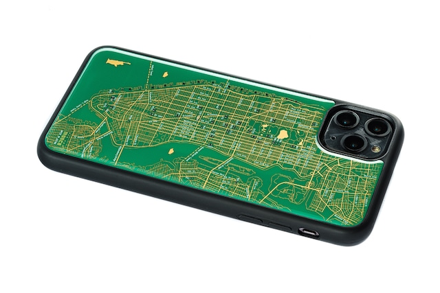 FLASH NY回路地図 iPhone 11 ProMax ケース  緑【東京回路線図A5クリアファイルをプレゼント】