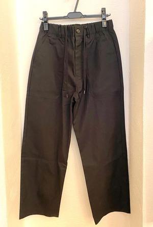 Gristone-W Cotton×Nylon Gabardine Baker Wide Pants Black