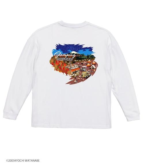 No.2021-aki-TS-001 ビックシルエット長袖Tシャツ:  秋のグランピング 紅葉とカフェと湖Tシャツ5.6oz ビックシルエット長袖Tシャツ