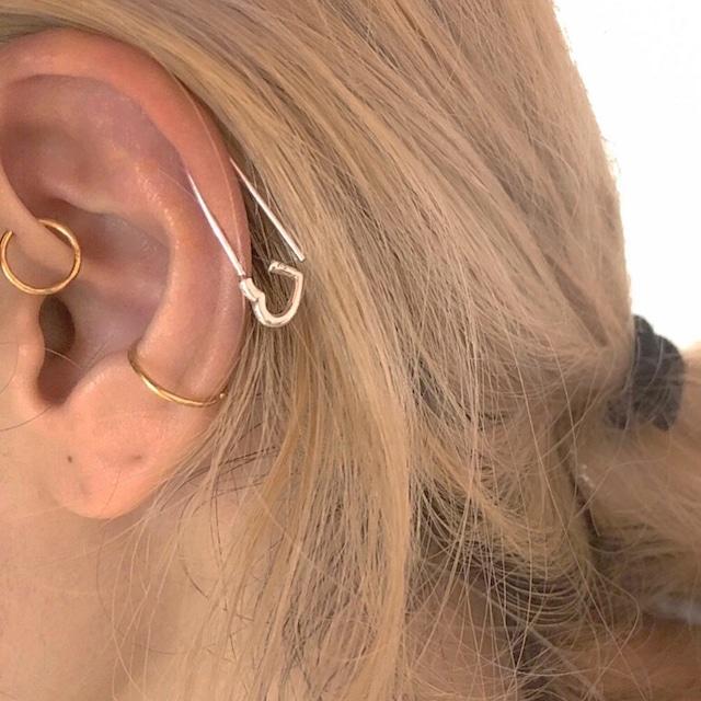HEART hook earring SILVER925 18G #LJ18026P