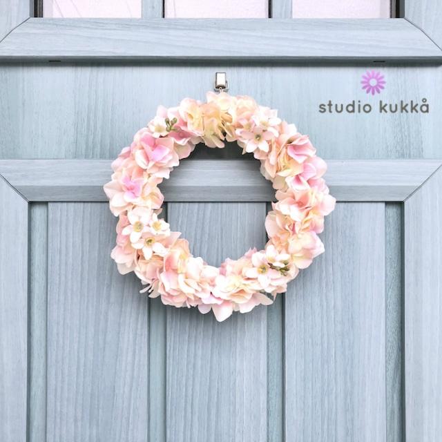 送料無料<受注製作>直径20cm♡ホワイトピンクのアジサイとブルースターのリース 春 スプリング