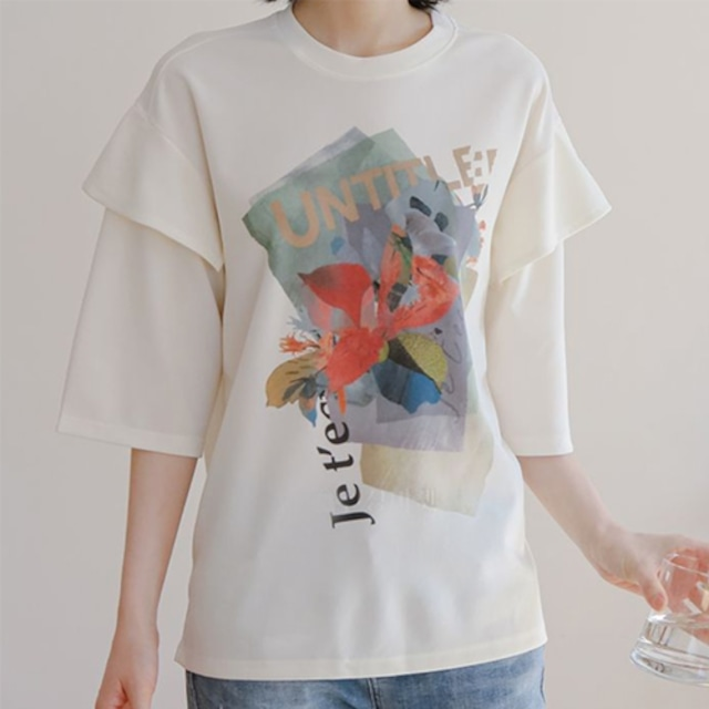 《SALE》 重ね着風 プリント柄 ゆったり Tシャツ★3色